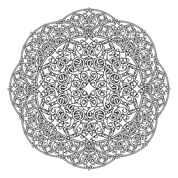 kontur, mandala. religiöse design-element verbunden. tätowierung. vektor-illustration - kultfilme stock-grafiken, -clipart, -cartoons und -symbole
