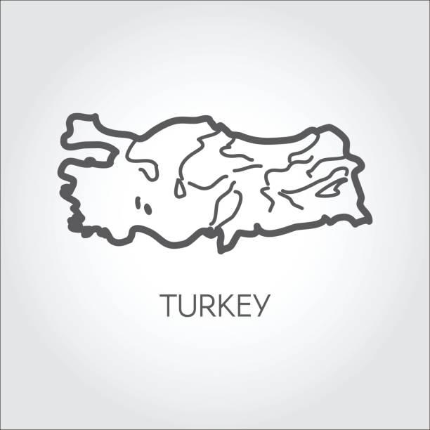 reliefkarte der türkei land mit form einiger flüsse. symbol für atlas, kartographie, bildungsprojekte zu skizzieren, reise-websites und andere design-anforderungen. vektor-illustration - alanya stock-grafiken, -clipart, -cartoons und -symbole
