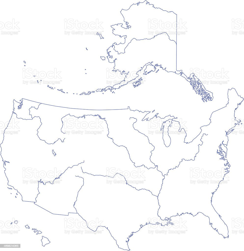 Contour map of USA vector art illustration