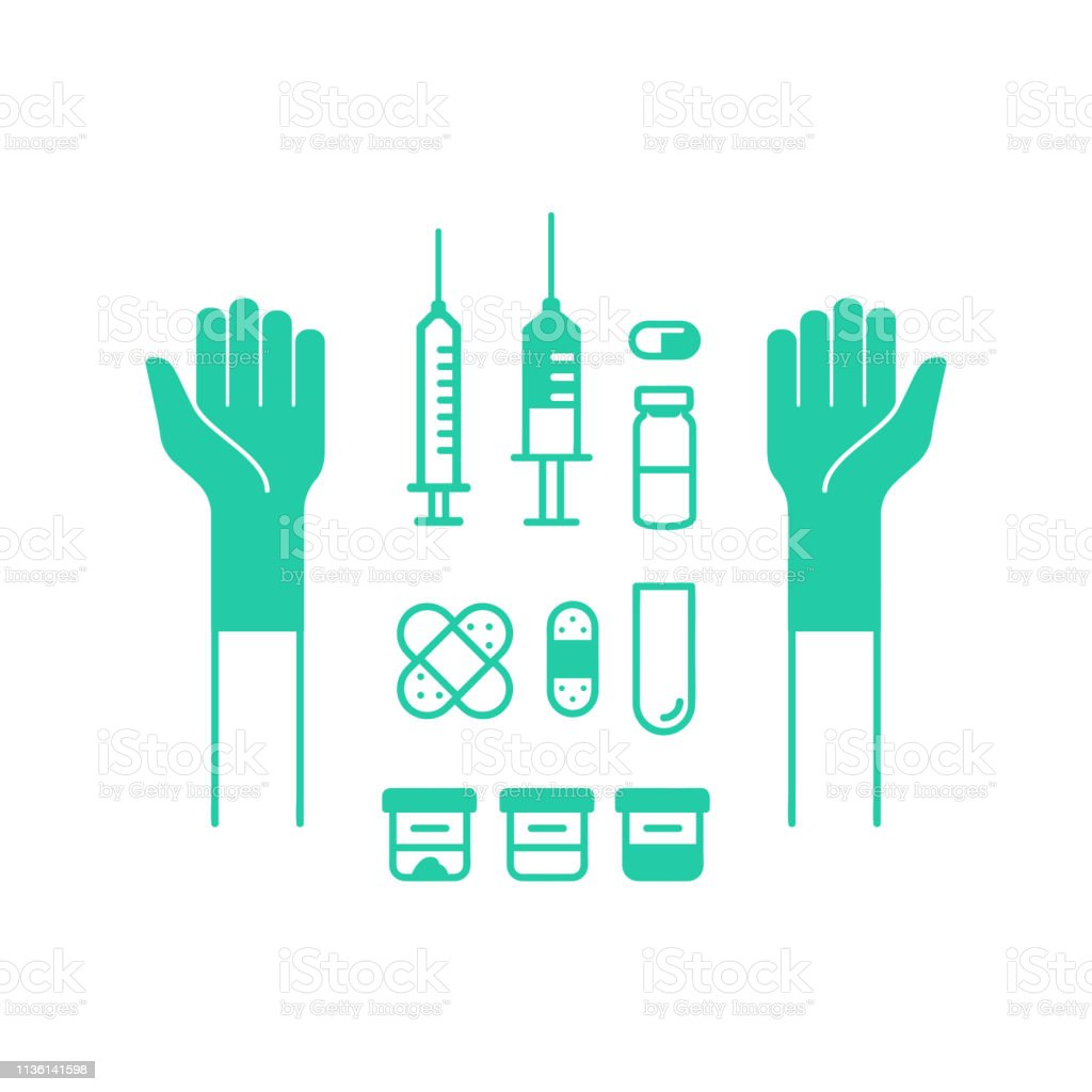 Contour medical icons. Set of icons for research and injection....