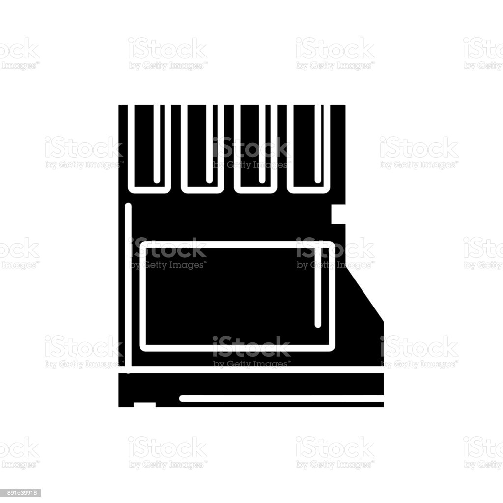 contour micro sd memory data technology vector art illustration