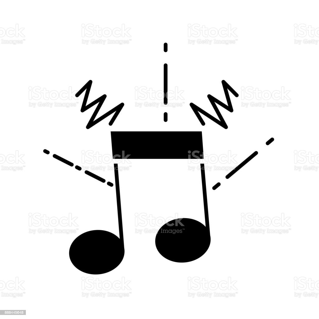 contour musical note sign to rhythm sound vector art illustration