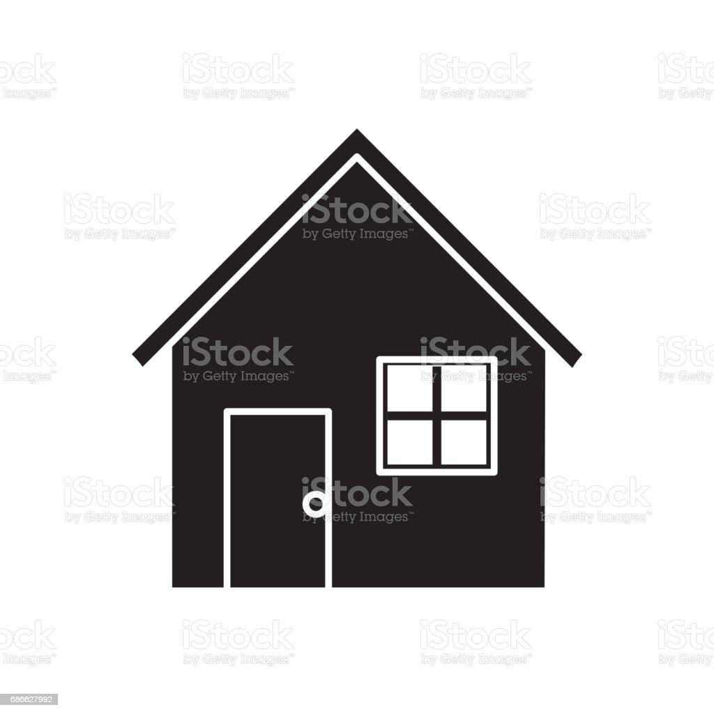 Ilustración de Bonita Casa De Contorno Con Puerta Ventana Y Techo y ...