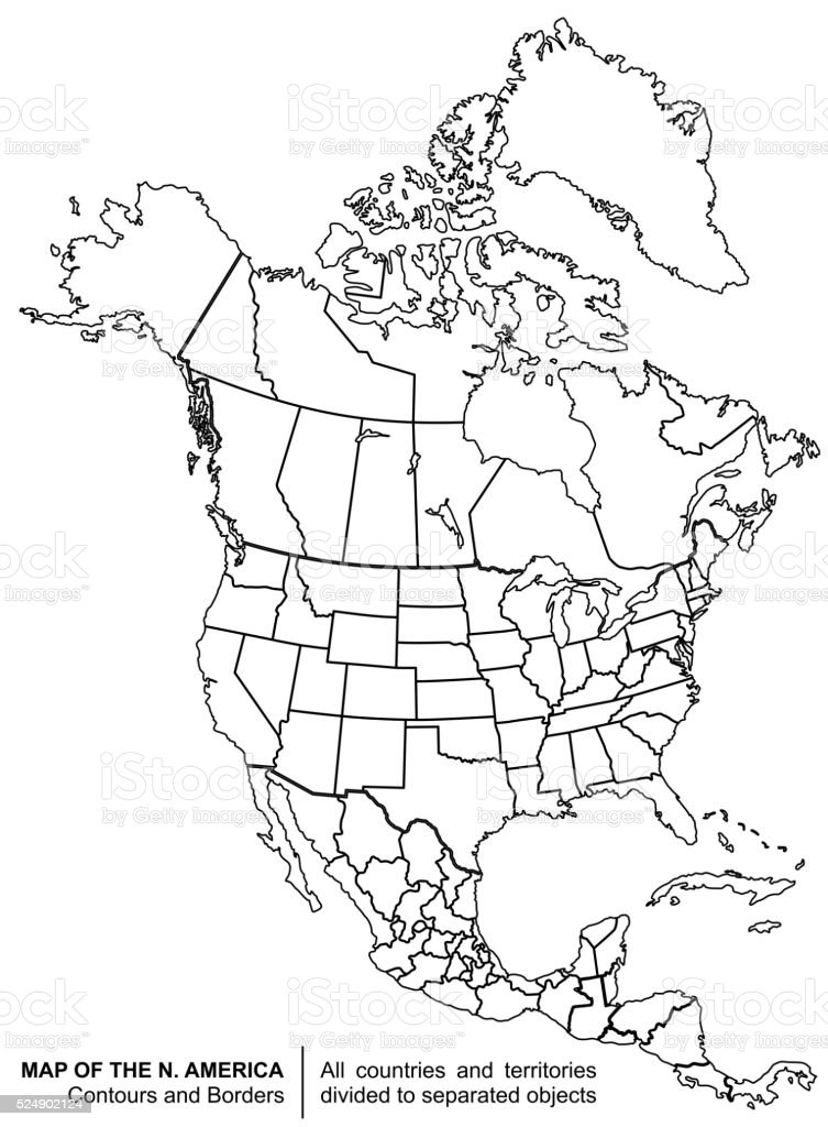 Line Drawing North America : Contour north america map stock vector art more images