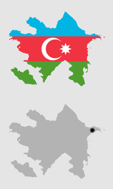 Contour of Azerbaijan Contour of Azerbaijan in grey and in flag colors azerbaijan stock illustrations