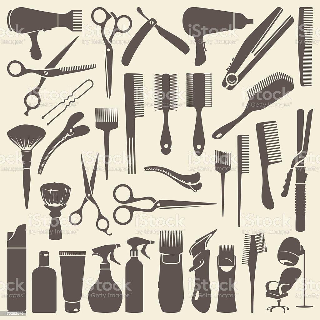 Contorno de cabeleireiro objetos - ilustração de arte em vetor