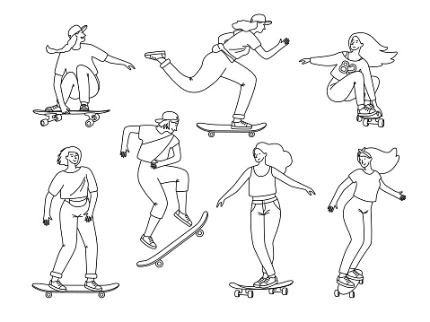 Contour of skateboarders. Cartoon female teenagers on boards sketch elements, jumping and sport tricks on longboard