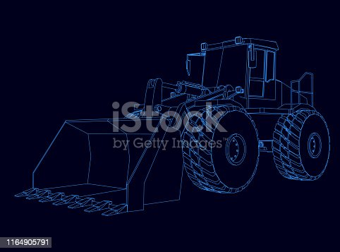 Contour of the bulldozer from the blue lines on a dark background. Vector illustration.