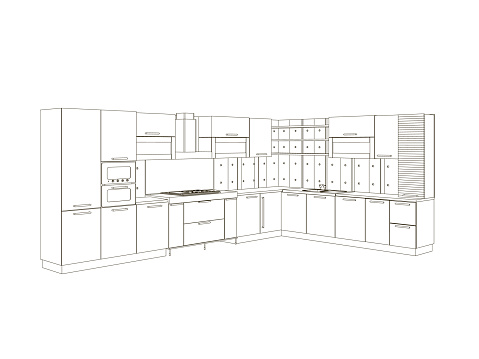 Contour of the kitchen of black lines isolated on white background. Front view. Wrieframe of the kitchen set. Vector illustration
