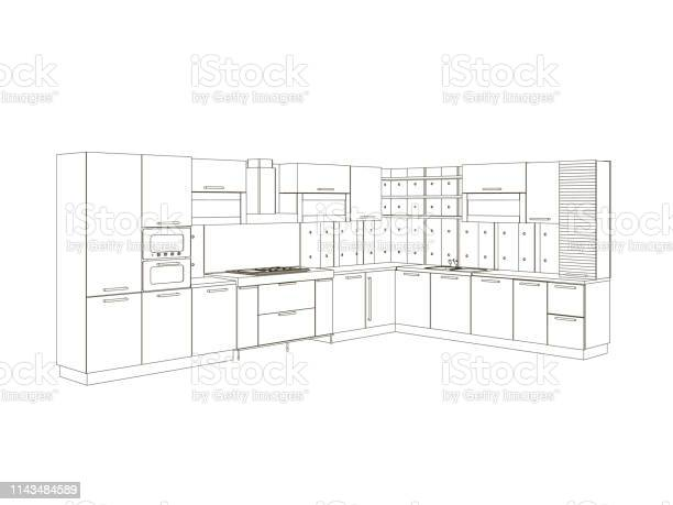 Contour of the kitchen of black lines isolated on white background vector id1143484589?b=1&k=6&m=1143484589&s=612x612&h=ww vlzhucilmxqtdzas trdzqjzwsclrgwqsxz6nbro=