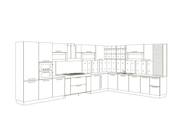 4 005 Kitchen Cabinets Illustrations Clip Art Istock