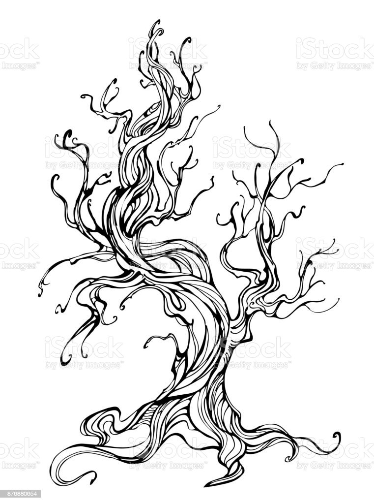 contour of the old tree - illustrazione arte vettoriale