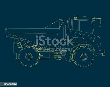 Contour of the truck of the yellow lines. Side view. Vector illustration.