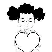 contour pretty girl with heart and casual wear