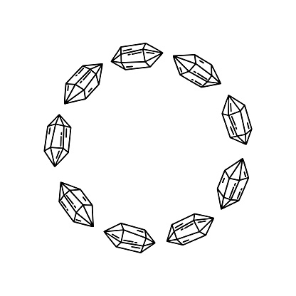 Contour round crystal frame. Isolated doodle illustration