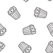 Contour seamless vector pattern. Doodle popcorn tubs on white background. Simple hand drawn design. Cartoon monochrome illustration for food packaging