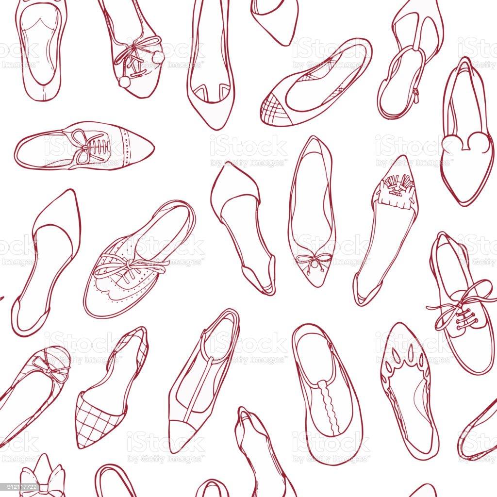 Ilustración de Contorno De Los Zapatos De Patrones Sin Fisuras ...