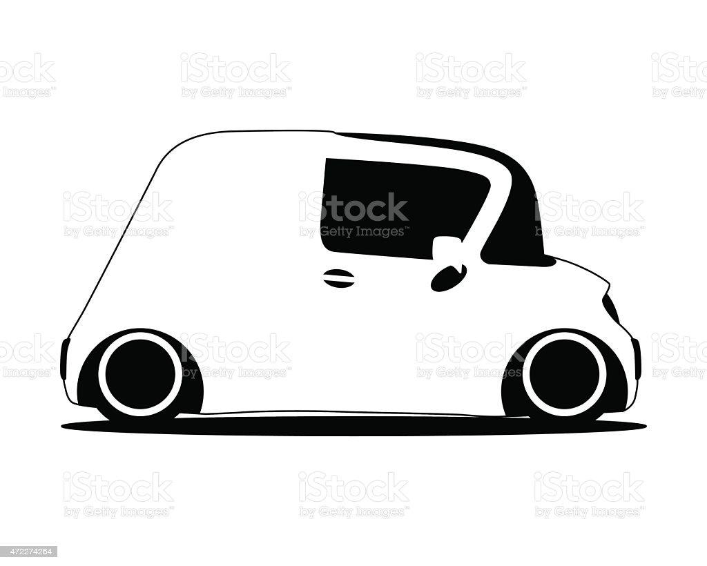 contour silhouette mini future car vector art illustration