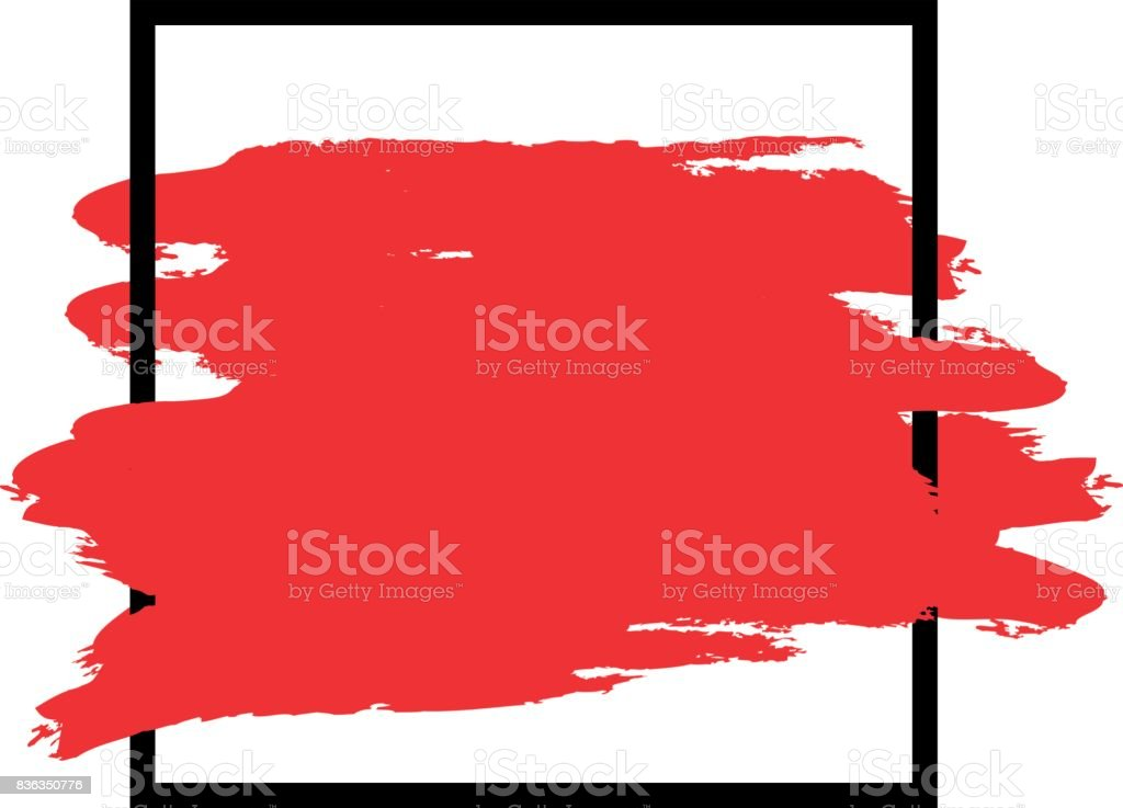 Contour simple black square frame, brush strokes of red. Abstract background for text. Isolated frame. vector art illustration