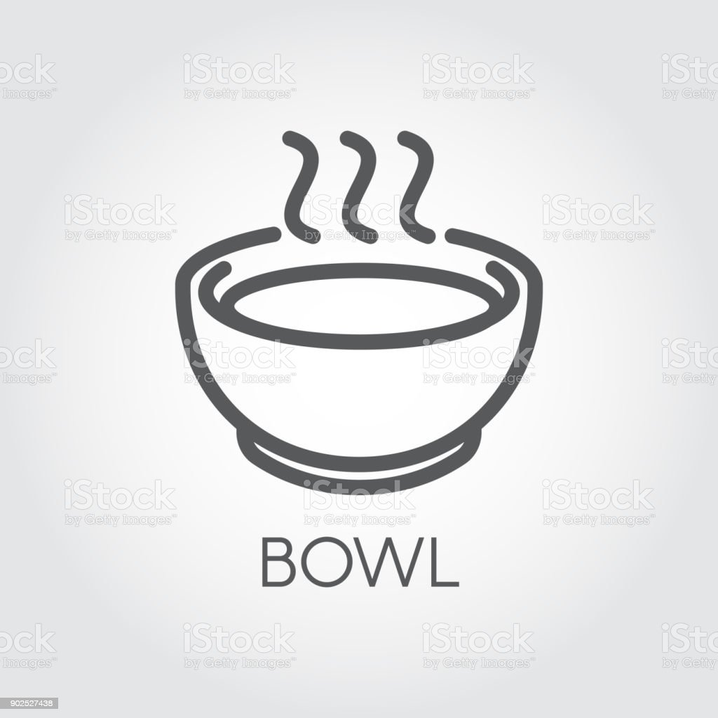 Contour simplicity icon of bowl with hot food or drink. Graphic outline label for culinary sites, books, mobile apps vector art illustration