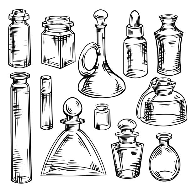 Contour sketch of bottles, flasks and jars with hatching. Containers for perfumes and medicines. Natural medicine. Potions and Alchemy. Vector engraving object Contour sketch of bottles, flasks and jars with hatching. Containers for perfumes and medicines. Natural medicine. Potions and Alchemy. Vector engraving object for recipes, banners and your design. drawing of a glass liquor flask stock illustrations
