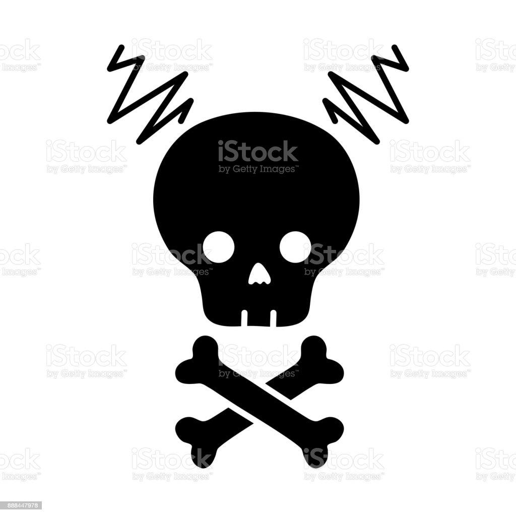 contour skull with bones to dander symbol to death vector art illustration