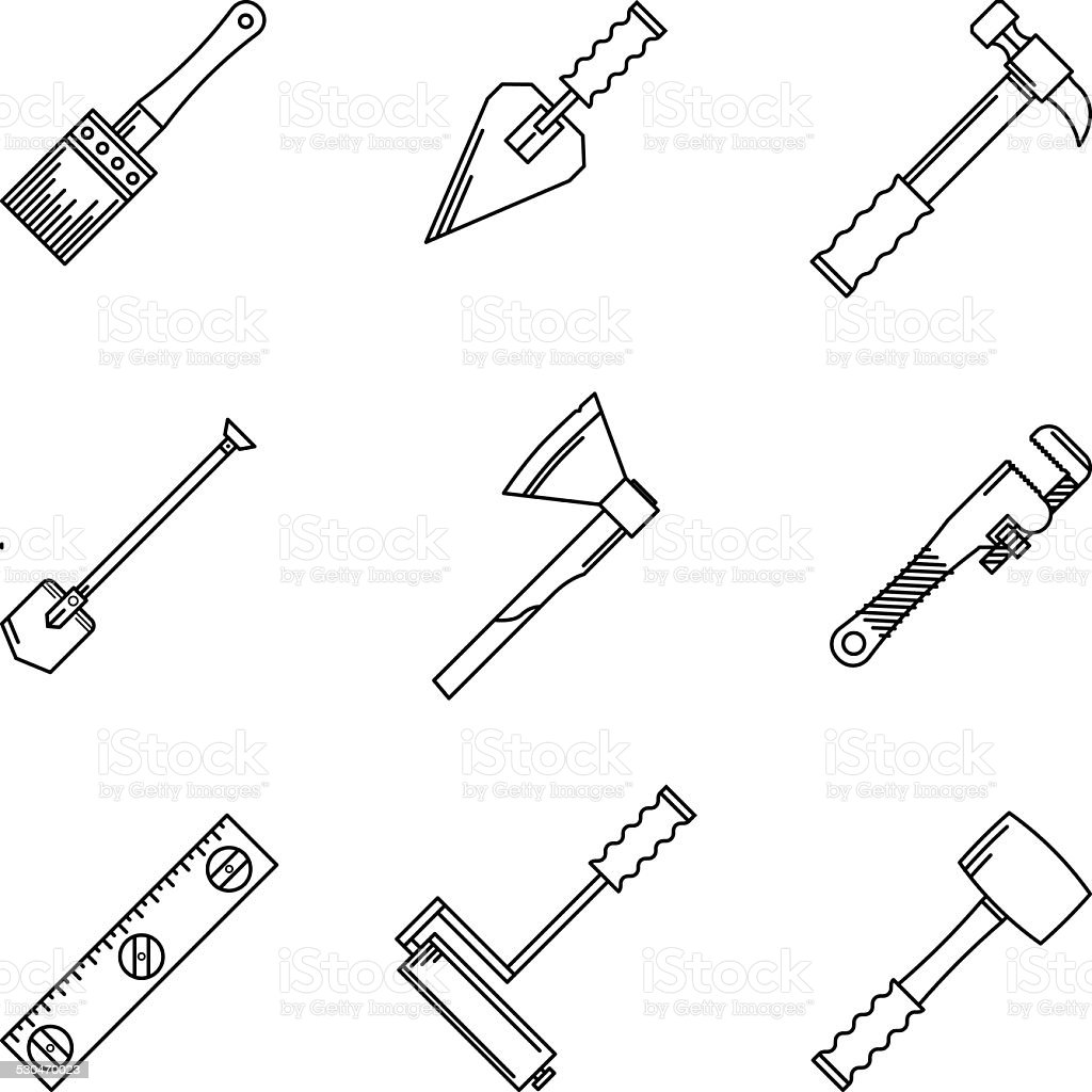 Contour vector icons for hand tools vector art illustration