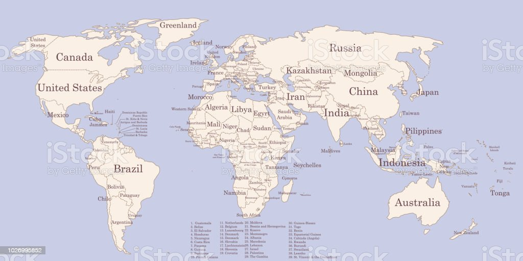 Contour World Map With Countries Names Vintage Colors Stock ...