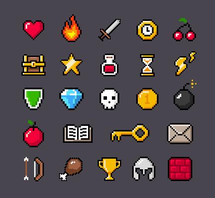 Contoured Pixel Game Icons