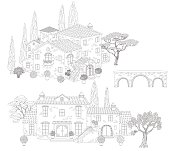 Contoured  stone houses,  bridge and trees. Hand drawn cartoon illustration.  Black and white elements for coloring.