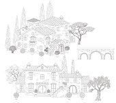 Contoured  stone houses, bridge and trees.