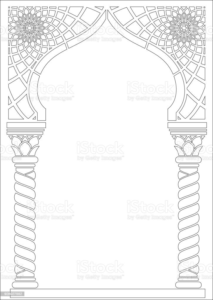 Contouring coloring of Arabic style arch vector art illustration