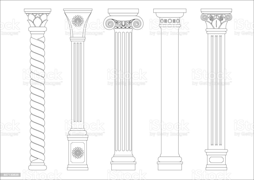 Contouring coloring of classical columns vector art illustration