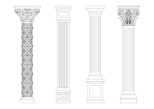Contour coloring of classical columns. Set of patterns in vector graphics