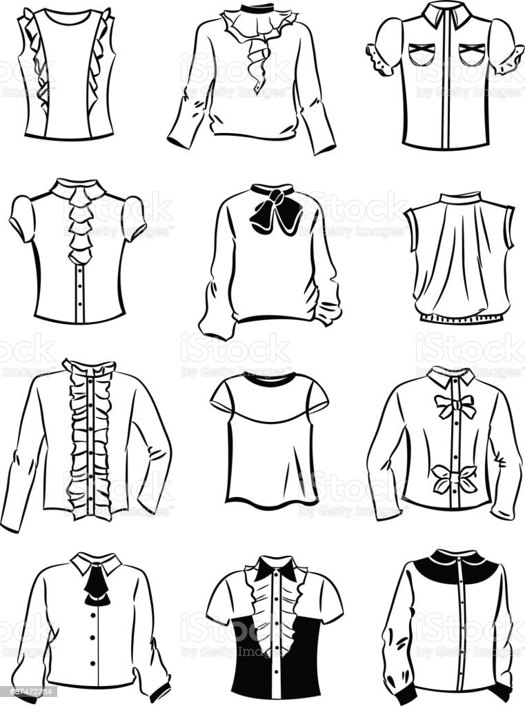 Contornos de blusas para niñas - ilustración de arte vectorial