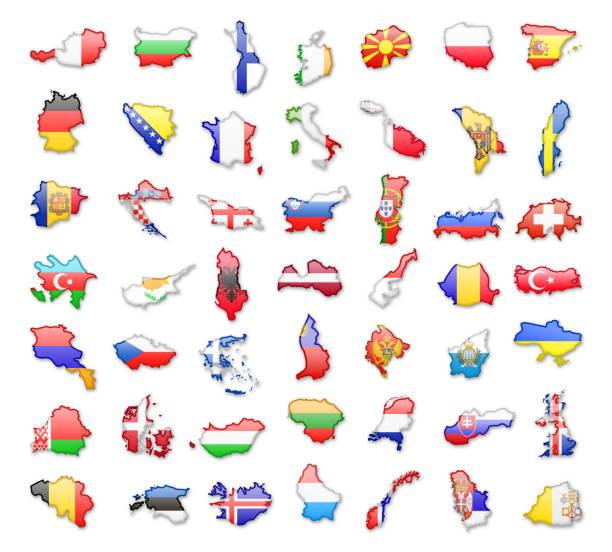 ilustraciones, imágenes clip art, dibujos animados e iconos de stock de contornos de los países europeos con banderas. ilustración de vector. - bandera británica