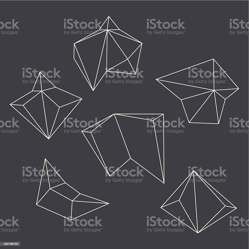 Contours of geometrical figures vector art illustration