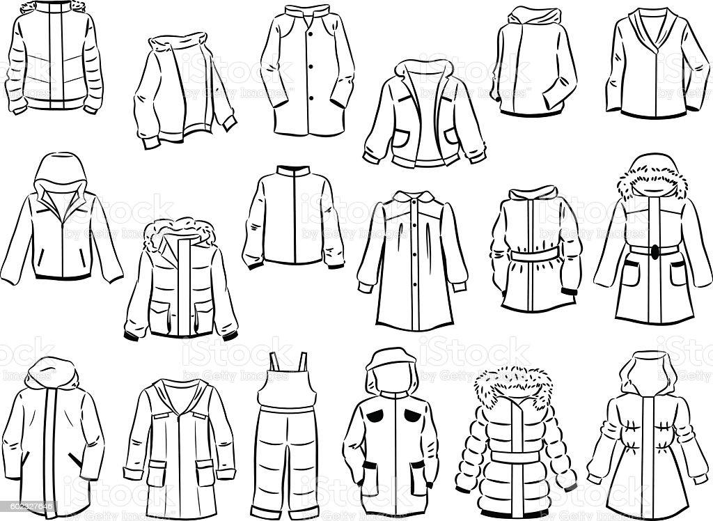 Contours of jackets for children vector art illustration
