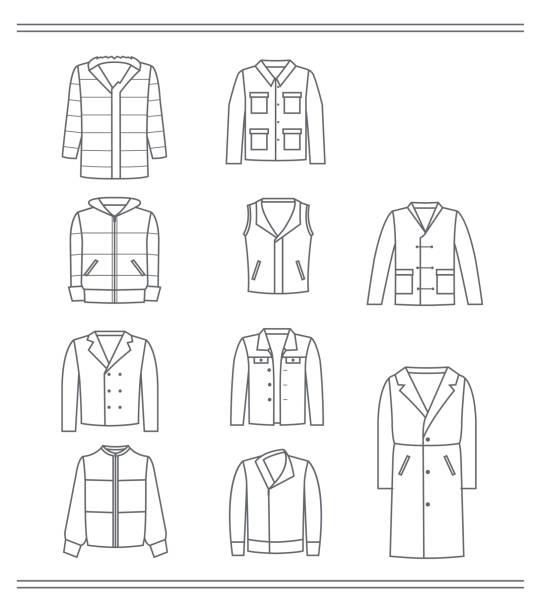 contours of men's jackets - mens fashion stock illustrations, clip art, cartoons, & icons