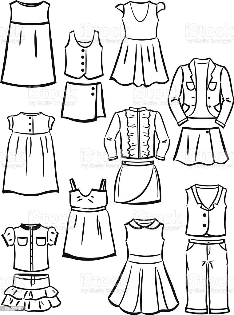 Contours school clothes for girls vector art illustration