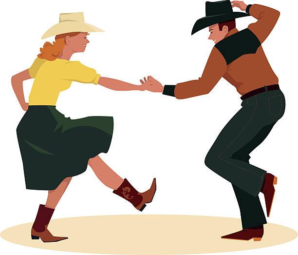 Contra dance vector art illustration