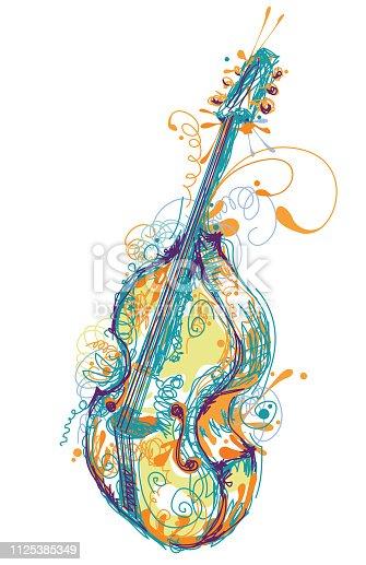 Music instrument sketch - contrabass , double bass, upright bass