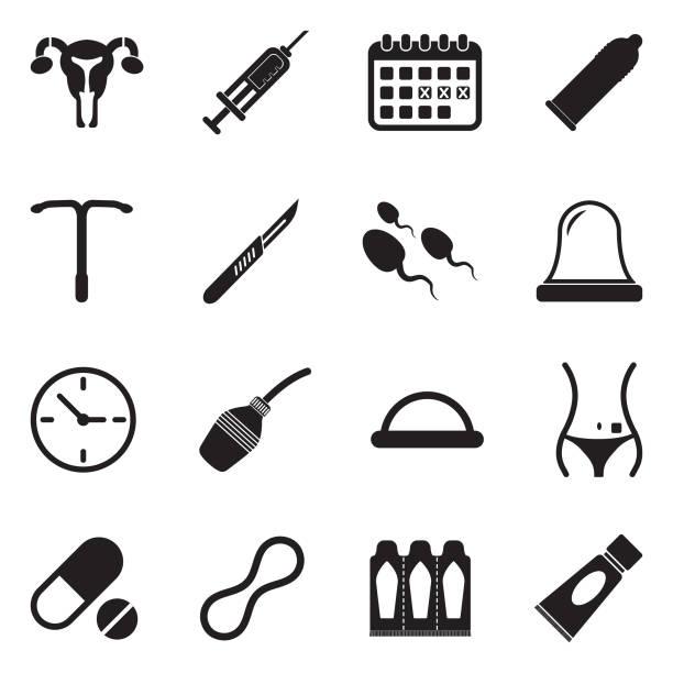 illustrazioni stock, clip art, cartoni animati e icone di tendenza di contraception icons. black flat design. vector illustration. - contraccettivo