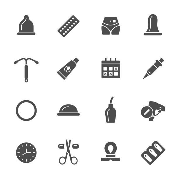 Contraception icons Contraception methods vector icon set spermicide stock illustrations