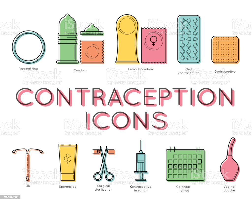 Contraception lineart design, medical concept vector art illustration