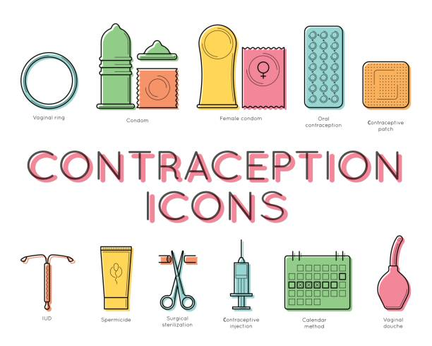 contraception lineart design, medical concept - family planning stock illustrations, clip art, cartoons, & icons