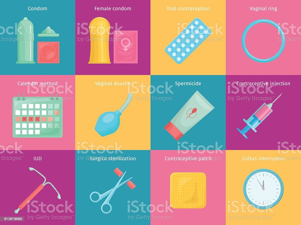 Contraception methods cartoon icons set vector art illustration