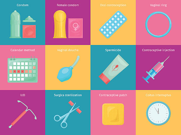 contraception methods cartoon icons set - family planning stock illustrations, clip art, cartoons, & icons