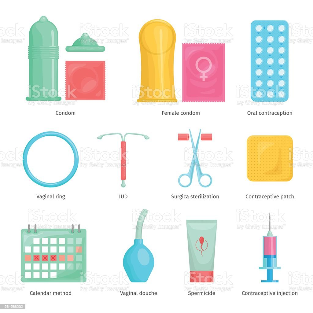 Contraception methods cartoon icons vector art illustration