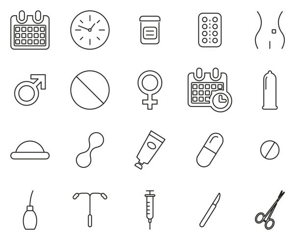 Contraception Methods Icons Thin Line Set Big Contraception Methods Icons Black & White Set Big spermicide stock illustrations
